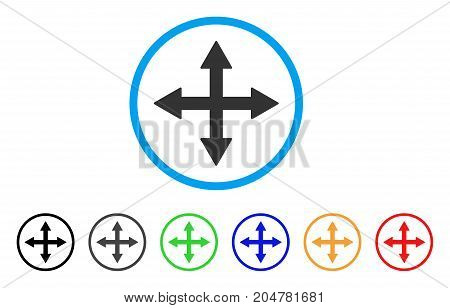 Quadro Arrows rounded icon. Style is a flat quadro arrows grey symbol inside light blue circle with black, gray, green, blue, red, orange color versions.