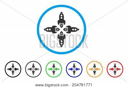 Rockets rounded icon. Style is a flat rockets grey symbol inside light blue circle with black, gray, green, blue, red, orange color versions. Vector designed for web and software interfaces.