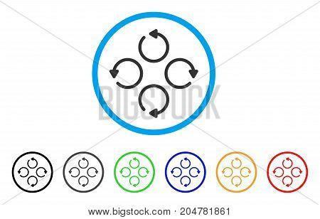 Rotation rounded icon. Style is a flat rotation grey symbol inside light blue circle with black, gray, green, blue, red, orange variants. Vector designed for web and software interfaces.