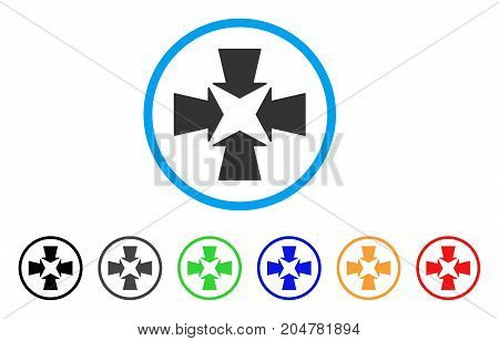 Shrink Arrows rounded icon. Style is a flat shrink arrows grey symbol inside light blue circle with black, gray, green, blue, red, orange versions. Vector designed for web and software interfaces.