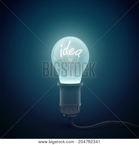 Creative conceptial background with glowing light bulb image in a dark room environment with luminant word idea inside vector illustration