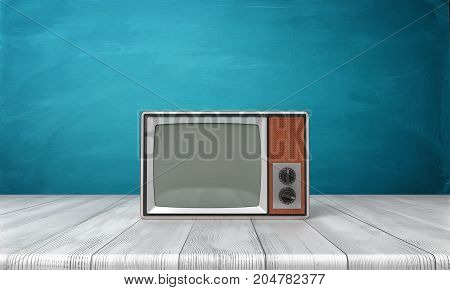 3d rendering of a large old-style CRT TV set in a brown frame standing on a wooden desk. Old TV shows. Retro appliances. Old technologies.