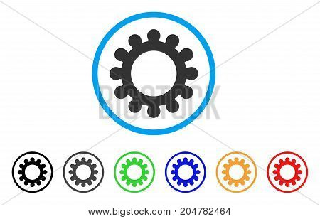 Cog rounded icon. Style is a flat cog grey symbol inside light blue circle with black, gray, green, blue, red, orange versions. Vector designed for web and software interfaces.