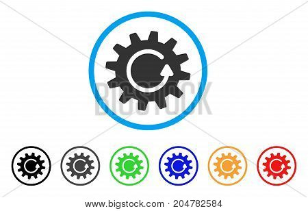Cogwheel Rotation rounded icon. Style is a flat cogwheel rotation gray symbol inside light blue circle with black, gray, green, blue, red, orange color versions.