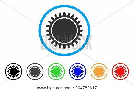 Cogwheel rounded icon. Style is a flat cogwheel gray symbol inside light blue circle with black, gray, green, blue, red, orange color versions. Vector designed for web and software interfaces.