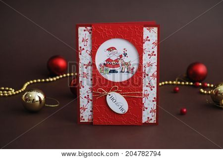 Happy New Year card with Santa Claus on brown background