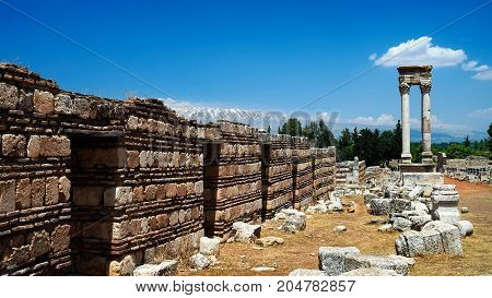 Ruins of ancient city Anjar in Bekaa valley Lebanon