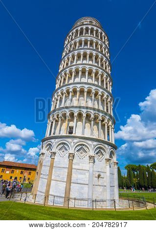The famous tower of Pisa - important landmark in Tuscany - PISA TUSCANY ITALY - SEPTEMBER 13, 2017