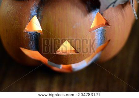 Halloween orange pumpkin and candle light background