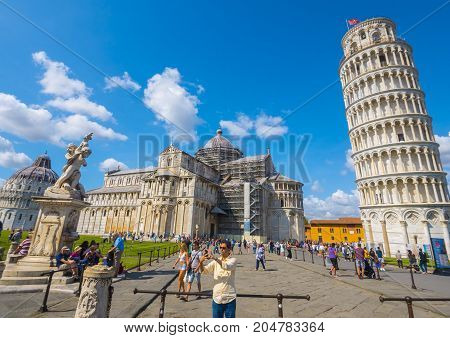 Most famous tourist attraction in Pisa - The Leaning Tower - PISA TUSCANY ITALY - SEPTEMBER 13, 2017