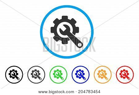 Gear And Wrench rounded icon. Style is a flat gear and wrench grey symbol inside light blue circle with black, gray, green, blue, red, orange color versions.