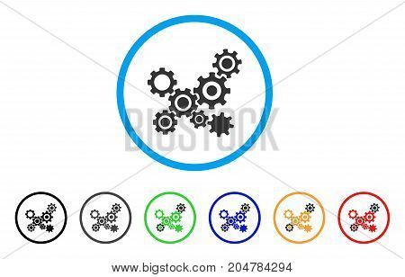 Gears Mechanism rounded icon. Style is a flat gears mechanism grey symbol inside light blue circle with black, gray, green, blue, red, orange variants. Vector designed for web and software interfaces.