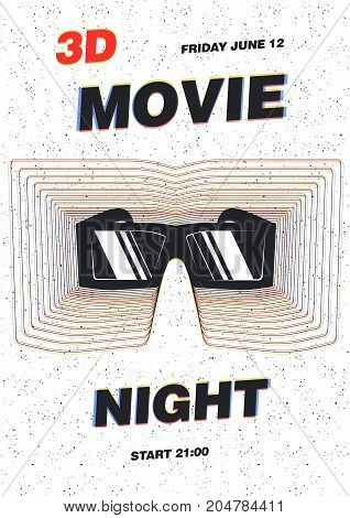 Modern Poster Template For Movie Premiere Night Film Festival Or Cinema Show With 3d Glasses