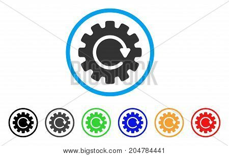 Gearwheel Rotation rounded icon. Style is a flat gearwheel rotation grey symbol inside light blue circle with black, gray, green, blue, red, orange versions.