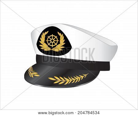 Vector illustration of captains hat on white background
