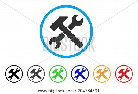 Hammer And Wrench rounded icon. Style is a flat hammer and wrench gray symbol inside light blue circle with black, gray, green, blue, red, orange versions.