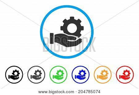 Mechanic Gear Service Hand rounded icon. Style is a flat mechanic gear service hand grey symbol inside light blue circle with black, gray, green, blue, red, orange versions.