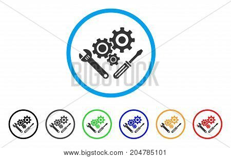 Mechanics Tools rounded icon. Style is a flat mechanics tools grey symbol inside light blue circle with black, gray, green, blue, red, orange color versions.
