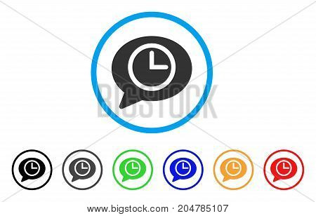 Message Time rounded icon. Style is a flat message time grey symbol inside light blue circle with black, gray, green, blue, red, orange variants. Vector designed for web and software interfaces.