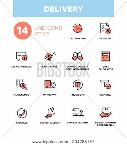 Delivery - modern vector single line icons set. Time, price list, request, pickup request, shipment status monitoring, rates calculator, track number, processing, callback, courier callout express
