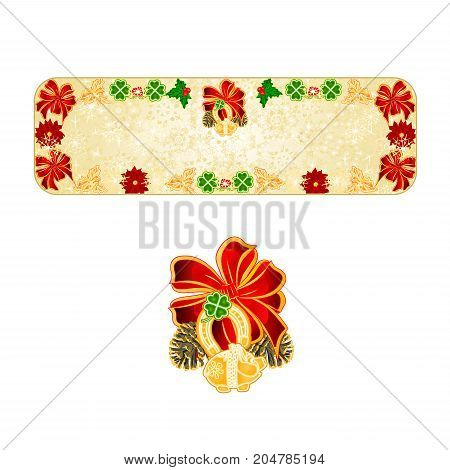 Banner Christmas decoration snowflakes lucky symbols Four Leaf Clover horseshoe pig vintage vector illustration editable hand draw