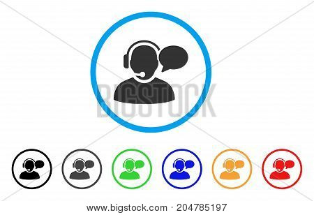 Operator Message rounded icon. Style is a flat operator message grey symbol inside light blue circle with black, gray, green, blue, red, orange versions.