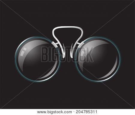 Vintage eyeglasses pince-nez - modern vector realistic isolated object illustration on black background. Use this high quality clip art for presentations, banners, flyers. Stylish retro nose-nippers
