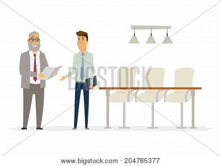 Business relationship - modern cartoon people characters illustration. A senior collegue speaking with a young worker, holding documents and smiling. An example of partnership and productive meeting