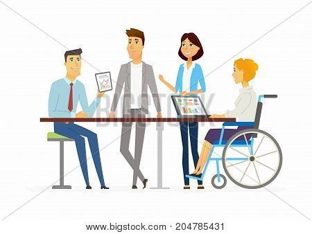 Meeting in the office - modern cartoon people characters illustration. Young happy people discuss a project at the table. A woman sits in a wheelchair and works at the computer, man shows inforgaphic
