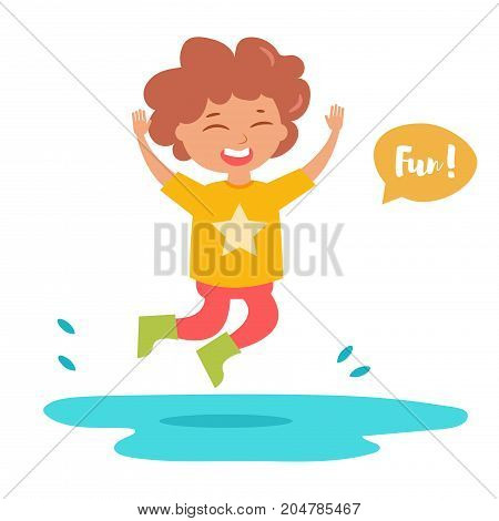 Boy in rubber boots jumping into puddle. Isolated art on white background. Vector. Cartoon. Flat