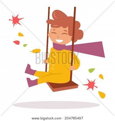 Boy in autumn clothes on a swing. Isolated art on white background. Vector. Cartoon. Flat