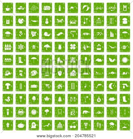 100 landscape icons set in grunge style green color isolated on white background vector illustration