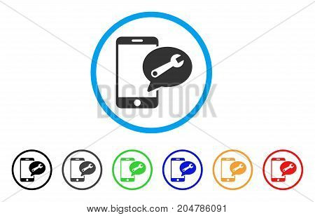 Phone Service SMS rounded icon. Style is a flat phone service SMS grey symbol inside light blue circle with black, gray, green, blue, red, orange color versions.