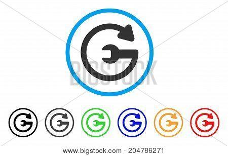 Repeat Service rounded icon. Style is a flat repeat service grey symbol inside light blue circle with black, gray, green, blue, red, orange color versions.