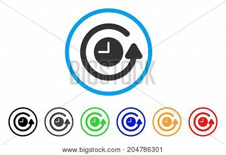Restore Clock rounded icon. Style is a flat restore clock gray symbol inside light blue circle with black, gray, green, blue, red, orange variants. Vector designed for web and software interfaces.