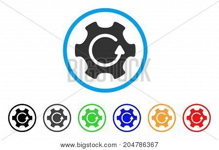 Rotate Gear rounded icon. Style is a flat rotate gear grey symbol inside light blue circle with black, gray, green, blue, red, orange color versions. Vector designed for web and software interfaces.