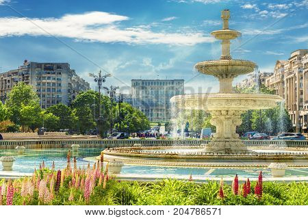 Fountain of central square Bucharest capital of Romania.