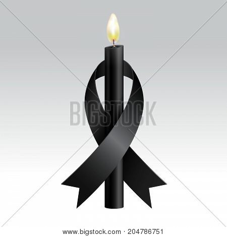 Black ribbon & Black candles mourning...Mourning and melanoma symbol...Vector realistic...Vector realistic.