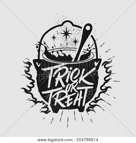 Halloween poster. Inspirational typography with Cauldron. Trick or Treat.