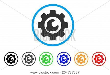 Service Tools rounded icon. Style is a flat service tools gray symbol inside light blue circle with black, gray, green, blue, red, orange variants. Vector designed for web and software interfaces.