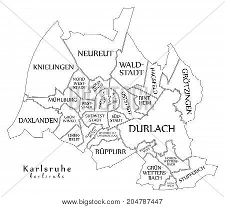 Modern City Map - Karlsruhe City Of Germany With Boroughs And Titles De Outline Map