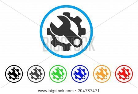 Service Tools rounded icon. Style is a flat service tools grey symbol inside light blue circle with black, gray, green, blue, red, orange variants. Vector designed for web and software interfaces.