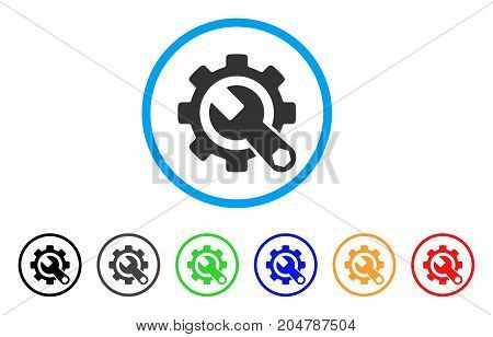 Service Tools rounded icon. Style is a flat service tools gray symbol inside light blue circle with black, gray, green, blue, red, orange color versions.
