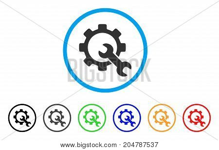 Service Tools rounded icon. Style is a flat service tools grey symbol inside light blue circle with black, gray, green, blue, red, orange color versions.