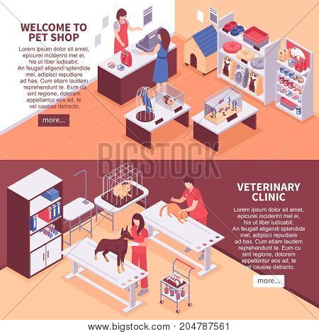Two horizontal isometric pet shop banner set with welcome to pet shop veterinary clinic and more button vector illustration