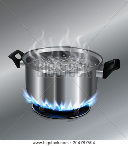 Stainless steel pot boiling water. On the gas stove...Vector realistic file.