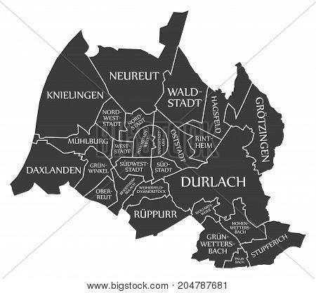 Karlsruhe City Map Germany De Labelled Black Illustration