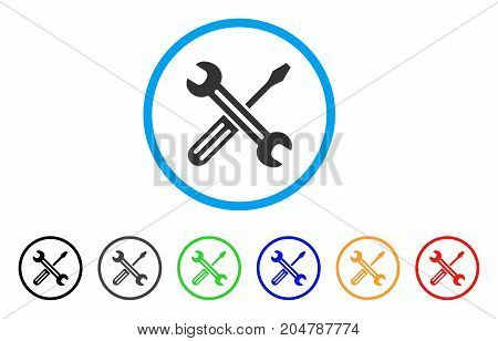 Spanner And Screwdriver rounded icon. Style is a flat Spanner and screwdriver gray symbol inside light blue circle with black, gray, green, blue, red, orange versions.