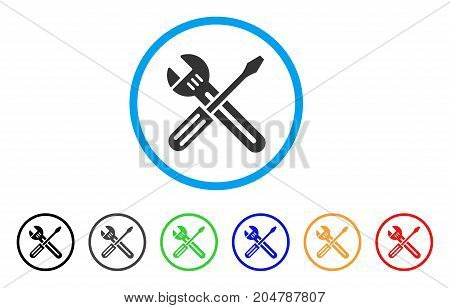 Spanner And Screwdriver rounded icon. Style is a flat Spanner and screwdriver grey symbol inside light blue circle with black, gray, green, blue, red, orange color versions.