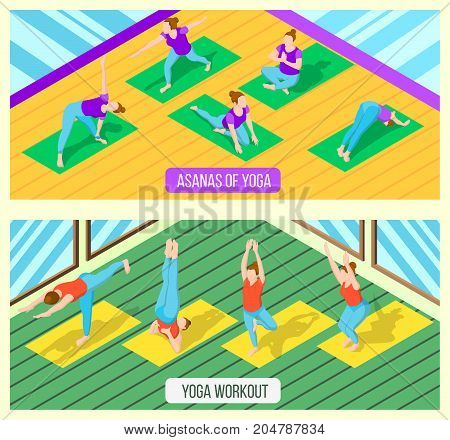 Isometric horizontal banners set with women practising various yoga asanas in fitness studio 3d isolated vector illustration